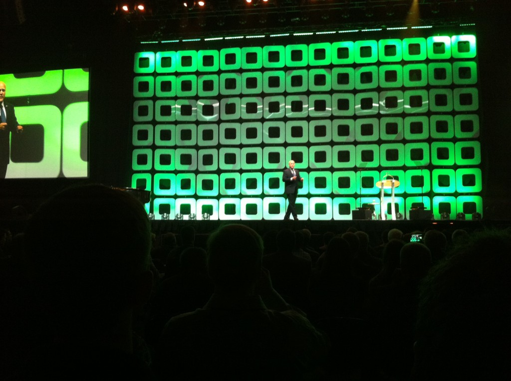 """New Orleans Mayor Mitch Landrieu gives a brief but powerful welcome to Greenbuild at the opening reception, held at the Superdome. He calls New Orleans the """"canary in the coal mine."""""""