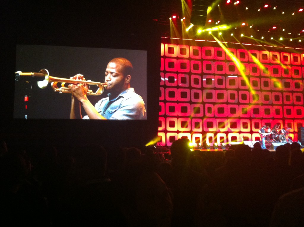 """New Orleans' own Troy Andrews a.k.a. """"Trombone Shorty"""" plays a high energy set at the end of the welcome celebration, followed by the Alabama Shakes."""