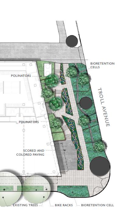 Plan of bio-retention planters