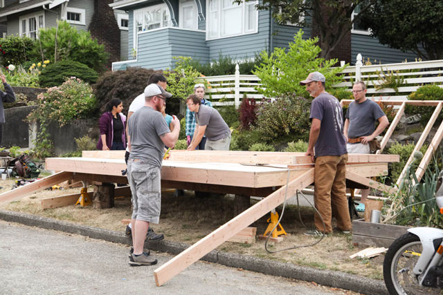 Photo of Weber Thompson staff working on the LIHI Tiny House